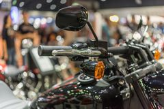 Some parts of the motorcycle in car show event. Bangkok, Thailand - December 10, 2017 : Some parts of the motorcycle in car show event. This a open event no need Royalty Free Stock Images