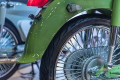 Some parts of the motorcycle in car show event. Bangkok, Thailand - December 10, 2017 : Some parts of the motorcycle in car show event. This a open event no need stock photography