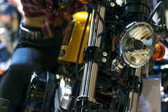 Some parts of the motorcycle in car show event. This a open event no need press credentials required Stock Photo