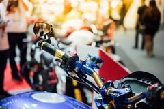 Some parts of the motorcycle in car show event. This a open event no need press credentials required Royalty Free Stock Photos