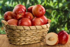 Some peaches in a basket over a wooden surface. Some peaches in a basket over a wooden surface on a green and natural background stock photo