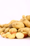 Some peanuts over red backgrou. Brown peanut some peanuts over red background Stock Images