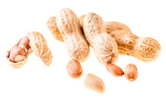 Some peanuts over white Royalty Free Stock Image