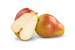 Some pears in a basket over a white background. Royalty Free Stock Photo
