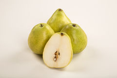 Some pears in a basket over a white background. Fresh fruits stock image