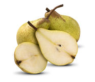Some pears in a basket over a white background. Fresh fruits Stock Photo