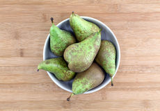 Some pears in a bowl on a chopping board. Top view of some pears in a bowl over a wooden chopping board, landscape cut royalty free stock images