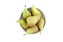 Some pears in a bowl. White background, landscape cut Stock Images