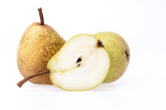 Some pears isolated on white background, close up. Some fresh pears isolated on white background, close up stock images