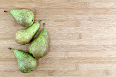 Some Pears On A Chopping Board, Space For Text Stock Photo
