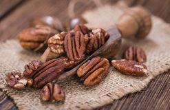Some Pecan Nuts (selective focus) Royalty Free Stock Photos