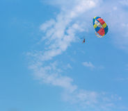 Some people parasailing over the sea. On blue sky background Stock Photo
