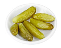 Some pickled cucumbers in white Stock Photos