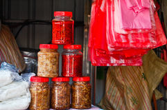 Some Pickled products on sold Stock Image