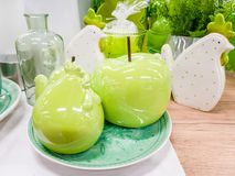 Easter decor with porcelain. Some pieces of easter decor, apples chicken in porcelain stock photos