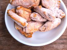 Some pieces of frozen fried chicken wings. Prepare for cook stock photos