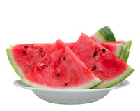 Some pieces of refreshing watermelon. On a white backg Royalty Free Stock Photo