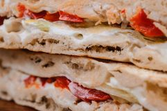Some pieces of sandwich. Italian tradition food Royalty Free Stock Photos