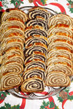 Some pieces of traditional hungarian cake poppy rolls beigli. Beigli is the famous hungarian christmas cake royalty free stock photos