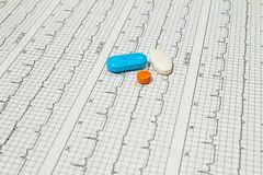 Some pills on electrocardiograms. Records of cardiac activity. Licensed drugs in forms of tablets. Concept of cardiovascular. Some pills on electrocardiograms royalty free stock photography