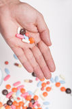 Pills on hand. Some pills on palm of a person Stock Photography