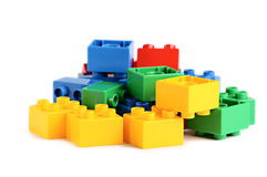 Some plastick colored bricks. Some plastick bricks from game isolated on the white stock photos