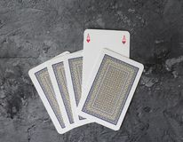Some poker cards. On marble background Stock Photos