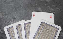 Some poker cards. On marble background Stock Images