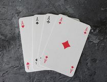 Some poker cards. On marble background Royalty Free Stock Images