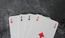 Some poker cards. On marble background Stock Photography