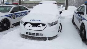 Some police cars parked in the parking area during snow storm. Laval, Quebec, Canada - February 13, 2019. Patrol police cars parked in the parking area during stock video