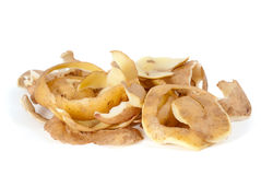 Some potato peel. Isolated on the white background Royalty Free Stock Image