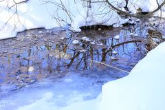 Some precipitated water is temporarily locked up in snow fields and glaciers, to be released later by evaporation or melting. A stream is a body of water with royalty free stock image