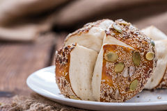 Some Pretzel Rolls with Seeds. Some Pretzel Rolls with mixed Seeds (close-up shot Stock Image
