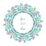 Some provence herbs circle frame. Some provence herbs in sketch style circle frame Stock Photo