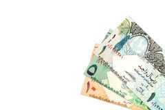 Some qatari riyal bank notes background. With copy space stock photography