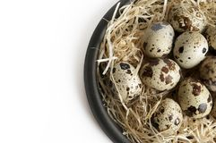 Some quail eggs in a black ceramic bowl. On a white background Royalty Free Stock Photography
