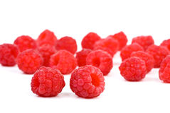 Some raspberries. Isolated on the white background Royalty Free Stock Photos