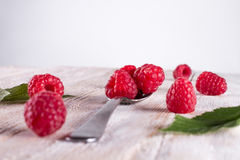 Some raspberry in metallic spoon. Closeup of ripe and fresh raspberries in metallic spoon and sprinkled on wooden desk Stock Images