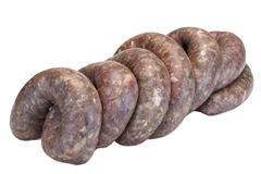 Some Raw Bratwurst In Natural Casing Isolated On White. Fresh And Raw Bratwurst Sausages In Natural Casing Isolated On The White Background, Cookout Food royalty free stock photography