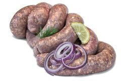 Some Raw Bratwurst In Natural Casing Isolated On White. Fresh And Raw Bratwurst Sausages In Natural Casing Isolated On The White Background, Cookout Food stock image
