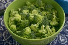 Some raw broccoli. Some fresh raw broccoli in a green bowl royalty free stock images