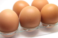 Some raw eggs. On the table Stock Photography