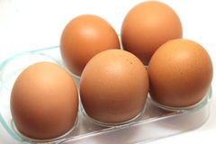 Some raw eggs. On the table Royalty Free Stock Photography