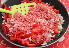 Minced Meat. Some raw minced meat with onions and paprika in a pan Royalty Free Stock Images