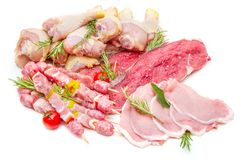Raw mix meat isolated on white background. Some raw mix meat isolated on white background Stock Photography