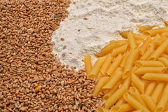 Some raw penne macaroni, wheat, white flour. Raw material and fi. Nished product pasta. Healthy food. Selective focus stock image