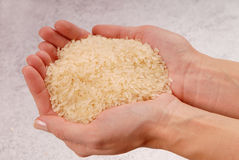 Some raw rice is on female hands. A fistful of white rice, a handful of raw cereal royalty free stock photography