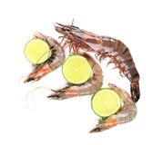 Some raw shrimps with different size. And limes stock photo
