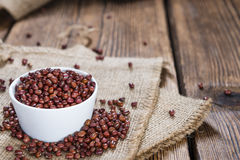 Some Red Beans. (close-up shot) on rustic wooden background Stock Photos